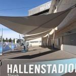 Sonnensegel als Überdachung für Raucherbereich - Hallenstadion Zürich