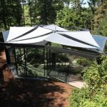 Botanischer Garten Grüningen. Das neue Gewächshaus mit den fünf darüber liegenden automatischen Sonnensegel 6636