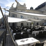 Sonnensegel Schweiz vorm Opernhaus Zürich