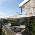 Sonnenschutz bei untergehender Sonne Terrassenhaus BL