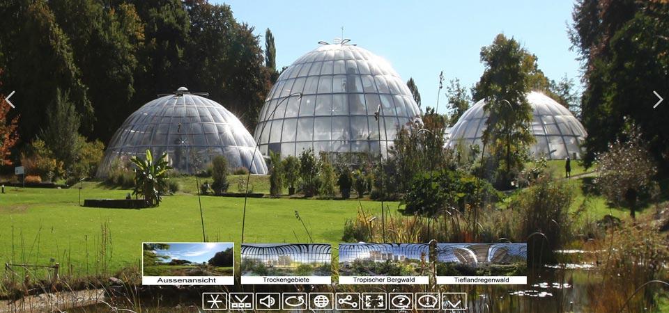 Sonnensegel für Glasbeschattung im botanischen Garten Zürich (Schweiz)