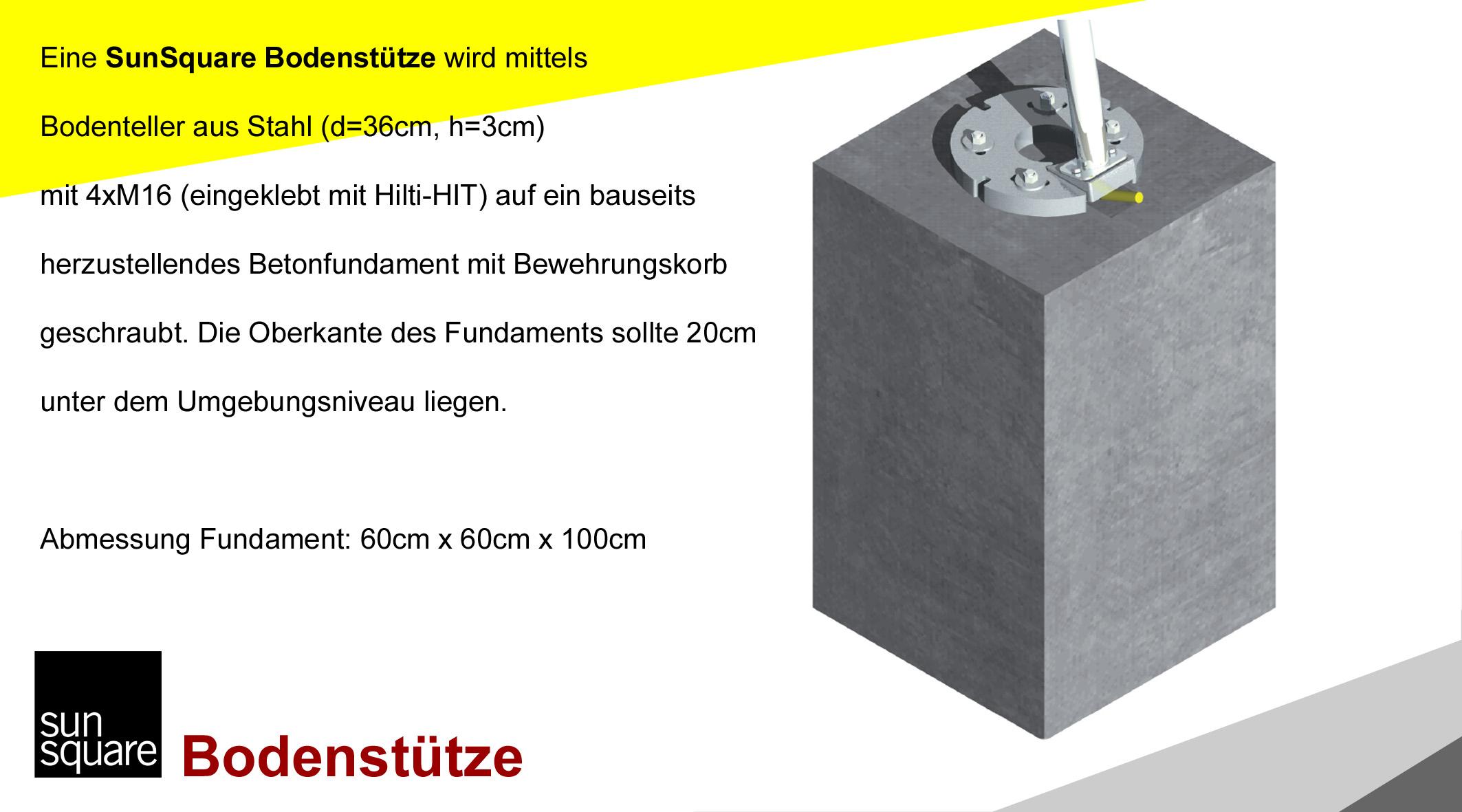 SunSquare Sonnensegel automatisch aufrollbar Bodenstütze von Sonnensegel Schweiz