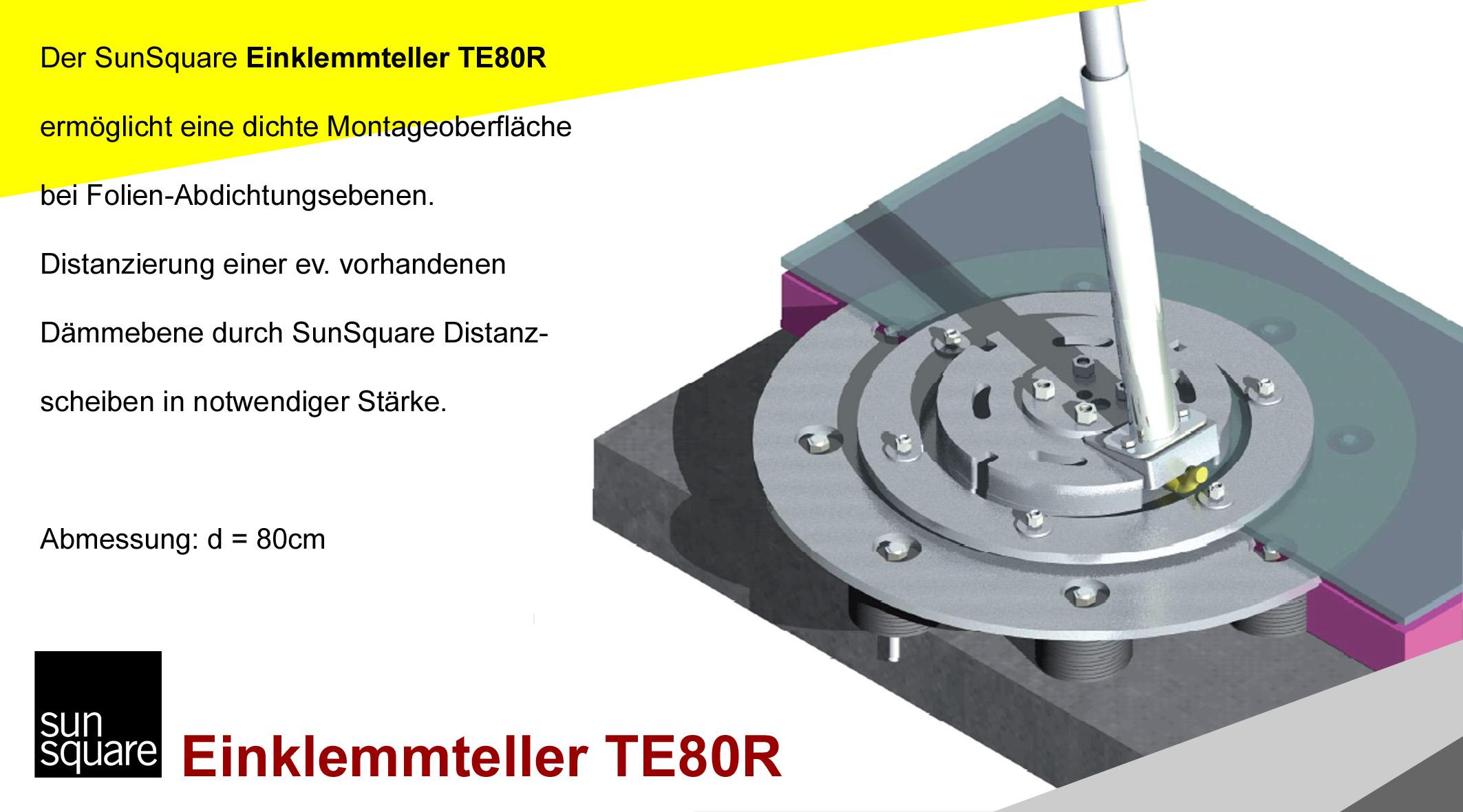 SunSquare Sonnensegel automatisch aufrollbar Einklemmteller TE80R von Sonnensegel Schweiz